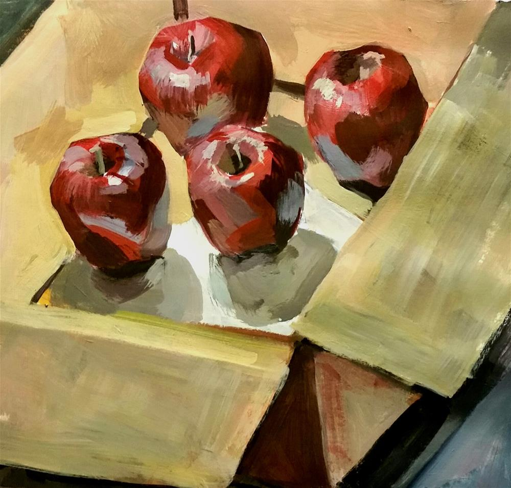 """Box of Apples"" original fine art by Liz Maynes"