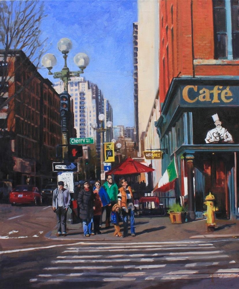 """Family Day Seattle city, oil painting by Robin Weiss"" original fine art by Robin Weiss"