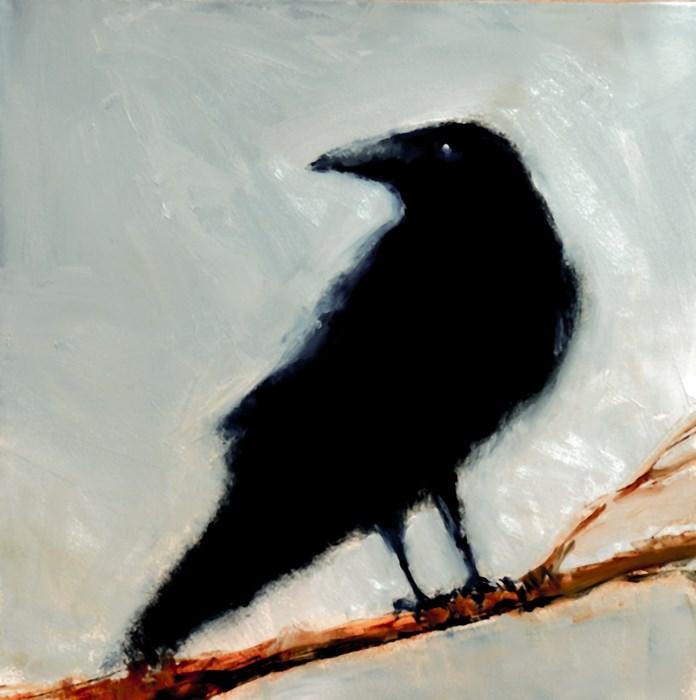 """Raven on a Branch II"" original fine art by Bob Kimball"