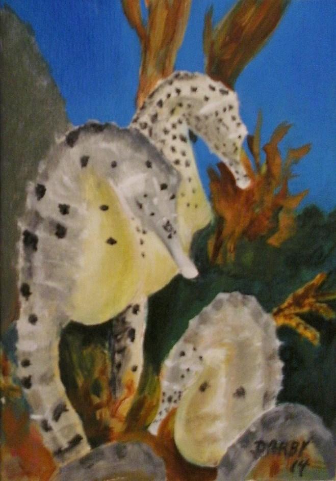 """""""Seahorses"""" original fine art by Lynn Darby"""