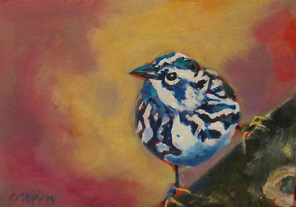 """237 Black and White Warbler"" original fine art by Diane Campion"