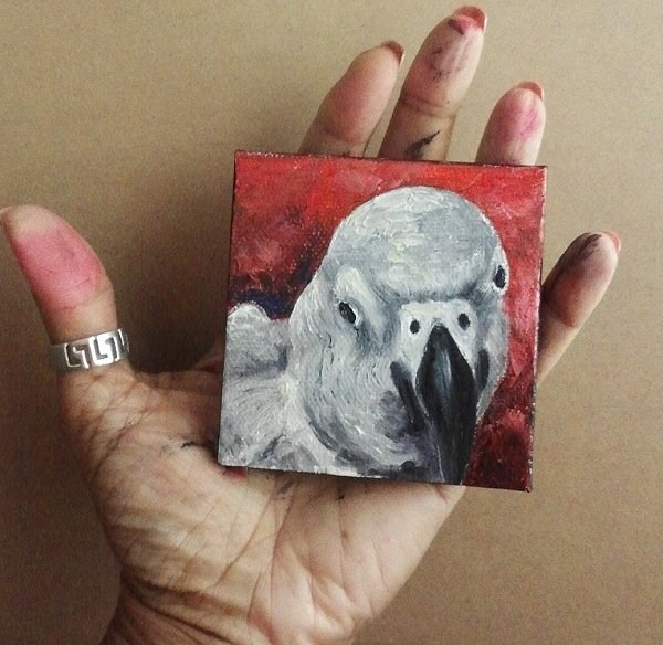 """Mini Oil Painting Bird African Grey Parrot Pet Portrait"" original fine art by Camille Morgan"