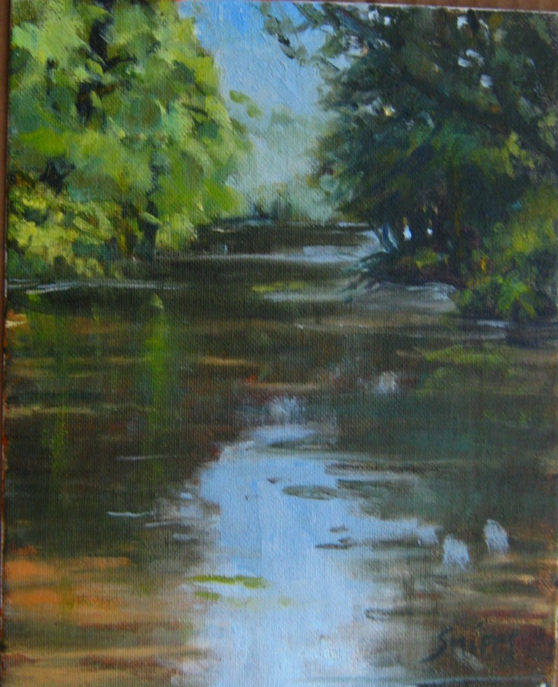 """Dancing Rabbit Creek"" original fine art by Connie Snipes"