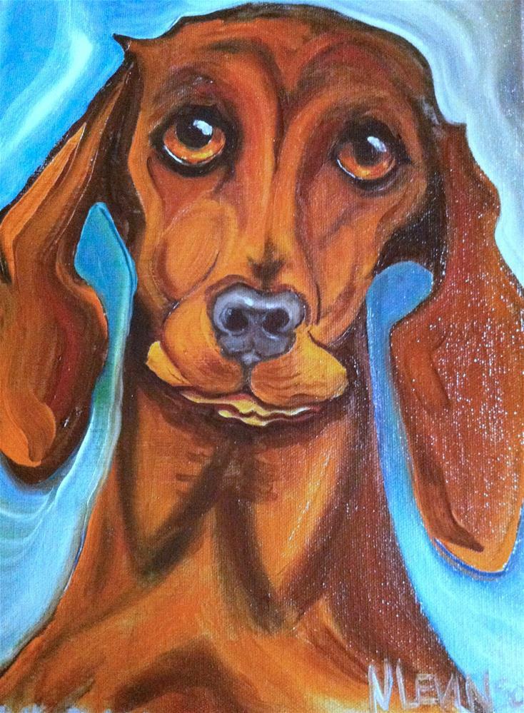 """""""Weiner Dog"""" original fine art by Nancy Levinson"""
