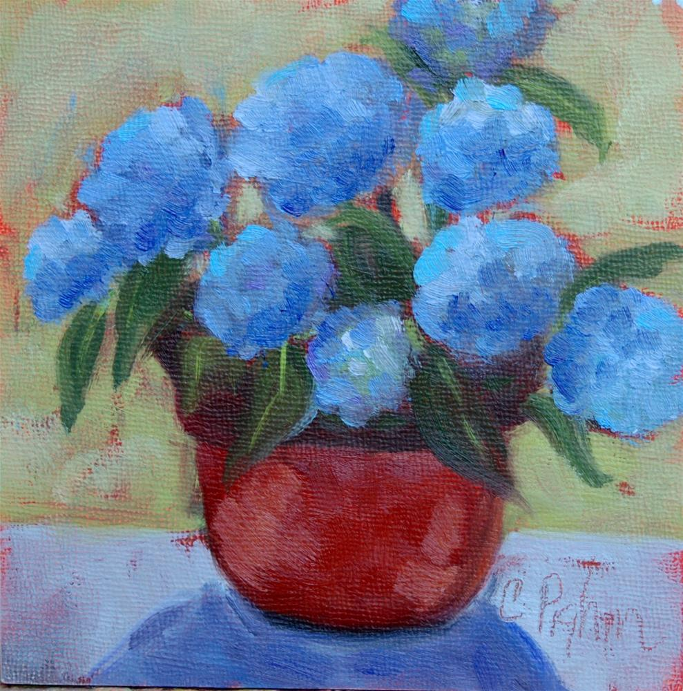 """Blue Hydrangeas"" original fine art by Carol Pighin"