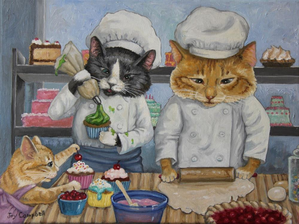 """Kitty Kat Bakery"" original fine art by Joy Campbell"