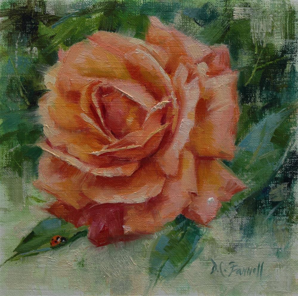 """Garden Friends Coral Rose & Ladybug"" original fine art by Donna C Farrell"