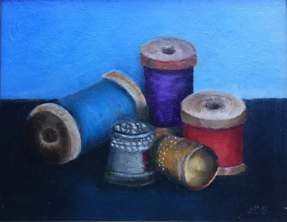 """Thimbles and Thread"" original fine art by Jeanne Bossart"