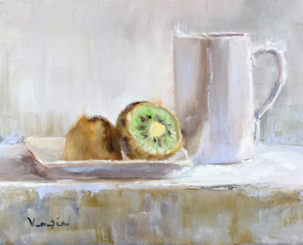 """Kiwi with White Cup"" original fine art by Carrie Venezia"