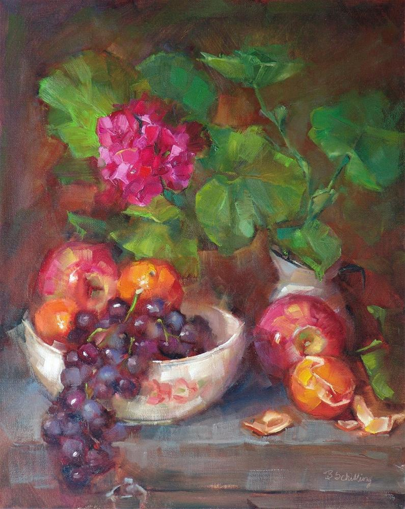 """""""Fruit and Flowers (revisited)"""" original fine art by Barbara Schilling"""