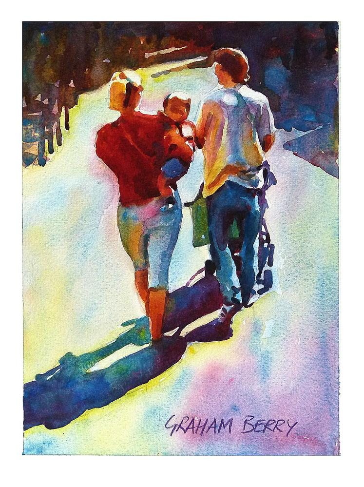"""Family stroll."" original fine art by Graham Berry"
