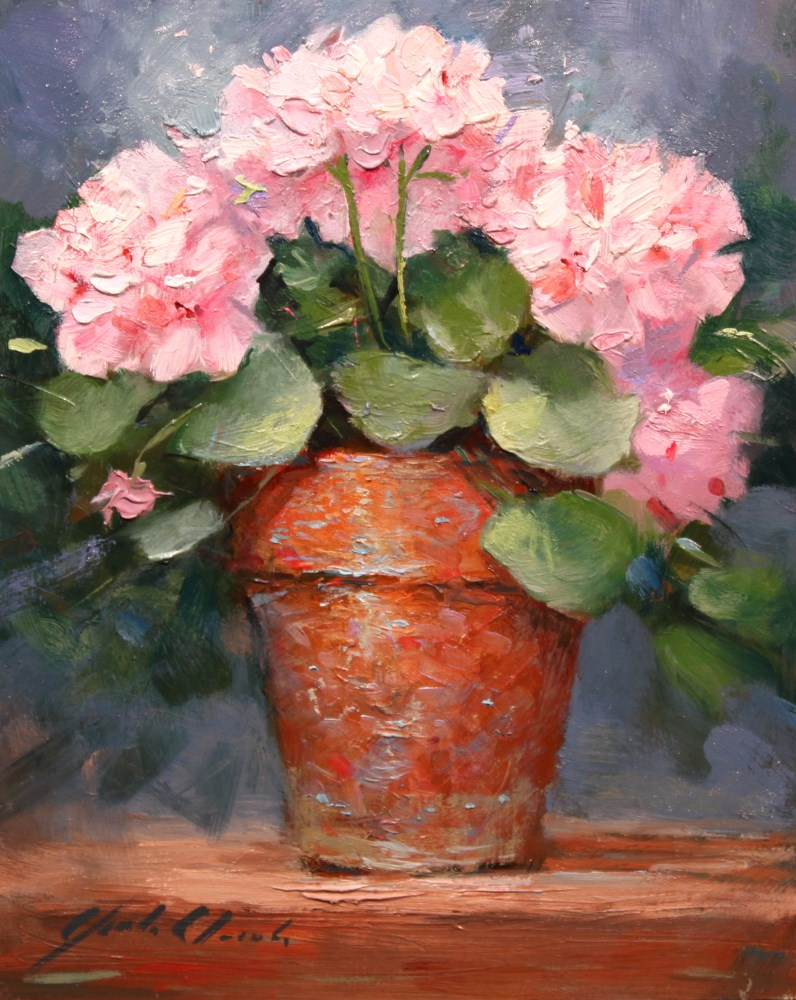 """Geraniums in a Clay Pot"" original fine art by Justin Clements"