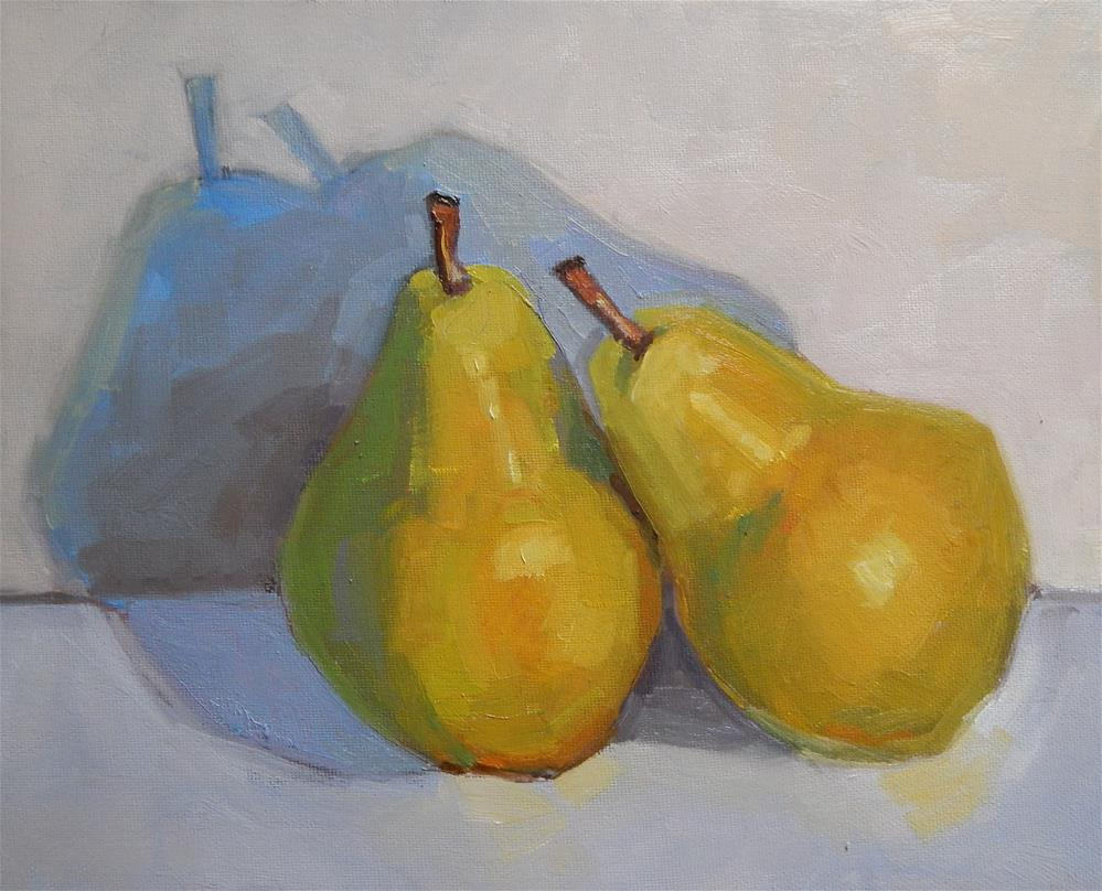 """Two Pears, Leaning"" original fine art by Lisa Kyle"