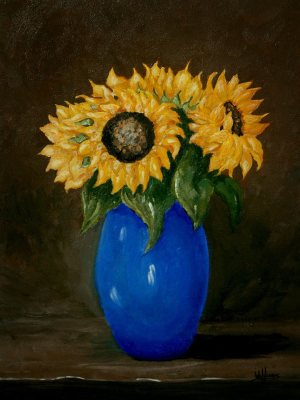 """Sunflowers in Blue Vase"" original fine art by Sunny Williams"