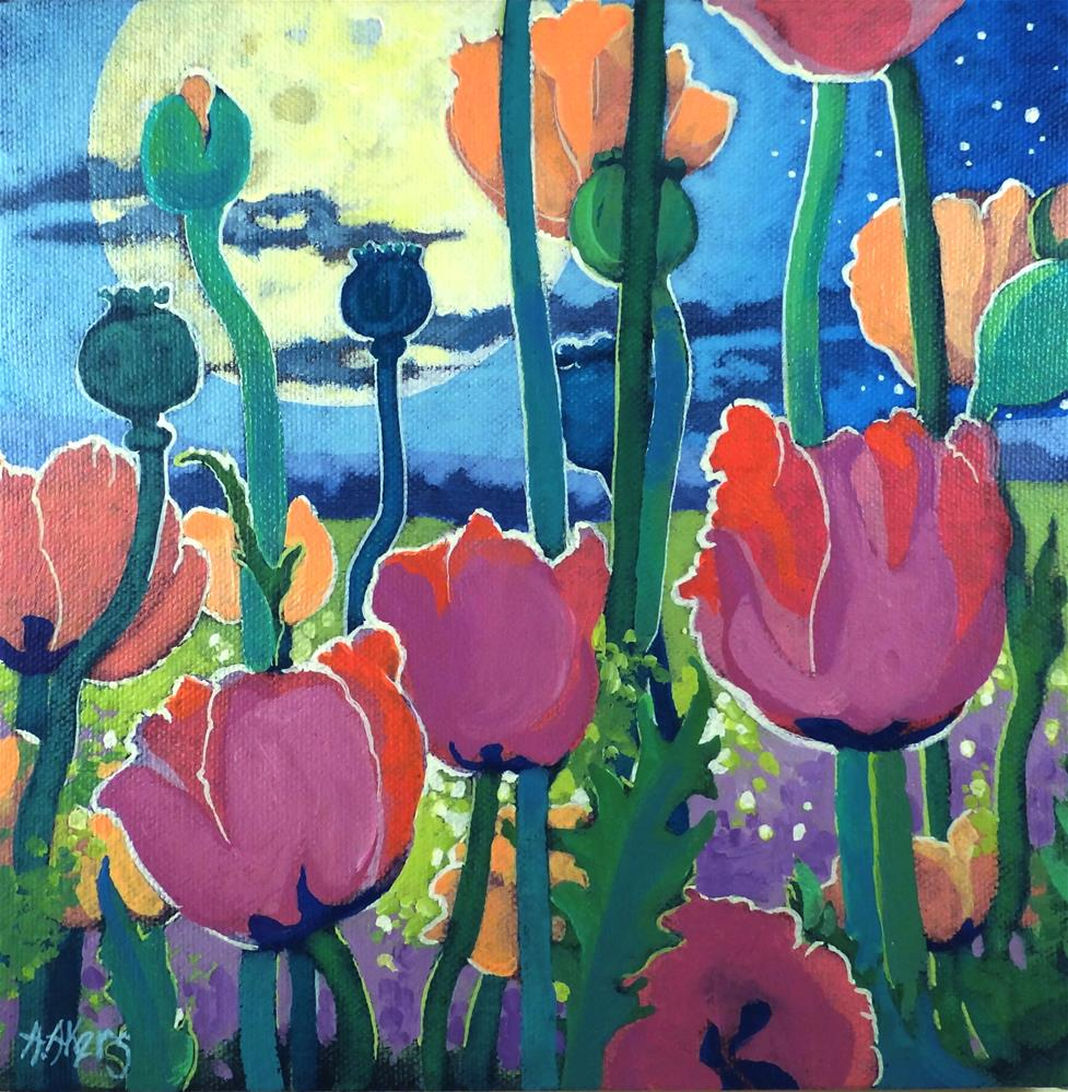 """""""Poppies Under the Moon"""" original fine art by Alida Akers"""