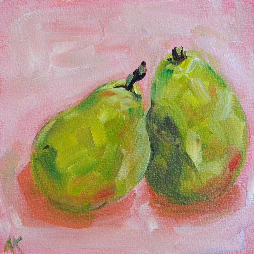 """Pears In Pink"" original fine art by Alison Kolkebeck"