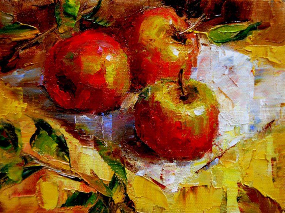 """Apple Trio and Techniques"" original fine art by Julie Ford Oliver"