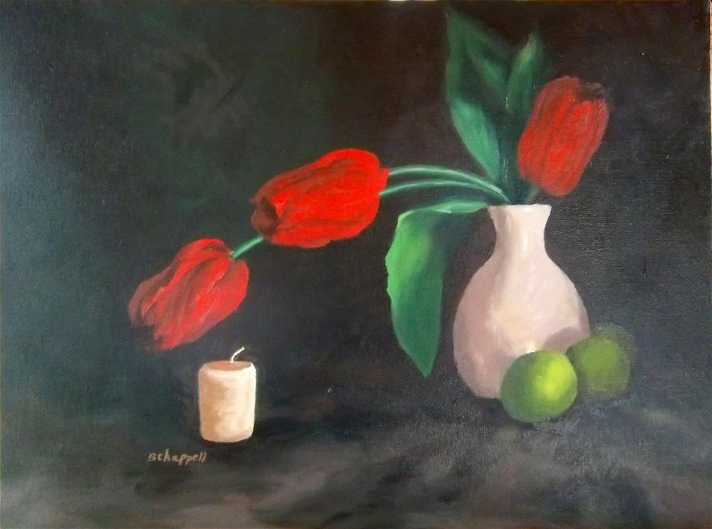 """Tulips, Lime and Candle"" original fine art by Becky Chappell"