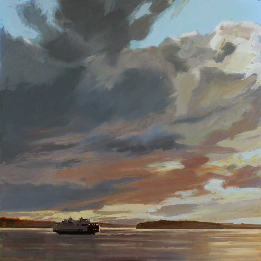 """Sunset Ferry and Blake Island"" original fine art by Gretchen Hancock"