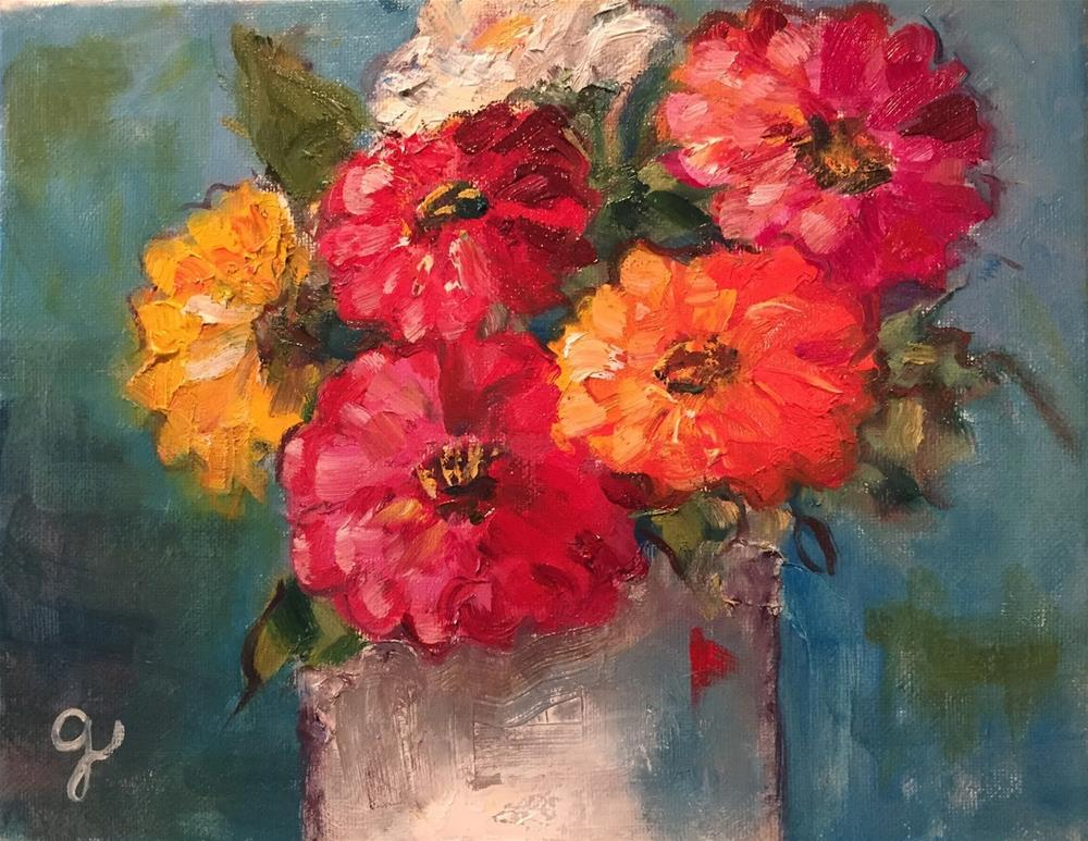 """Deb's Zinnias"" original fine art by Gayle Lambeth"