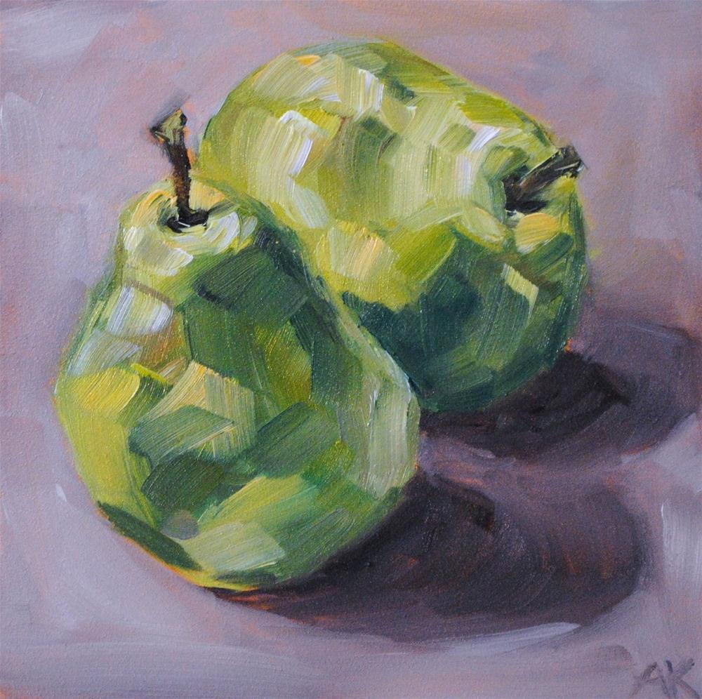 """Two Pears"" original fine art by Alison Kolkebeck"