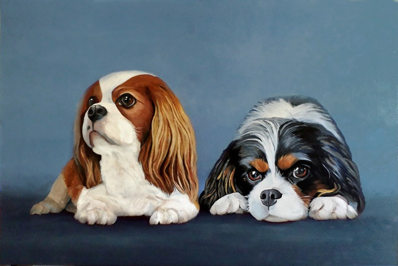 """Davi and Olive dog portrait"" original fine art by Ria Hills"