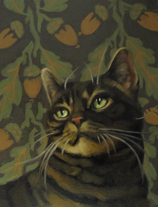 """Among the Acorns brown stiped cat"" original fine art by Diane Hoeptner"