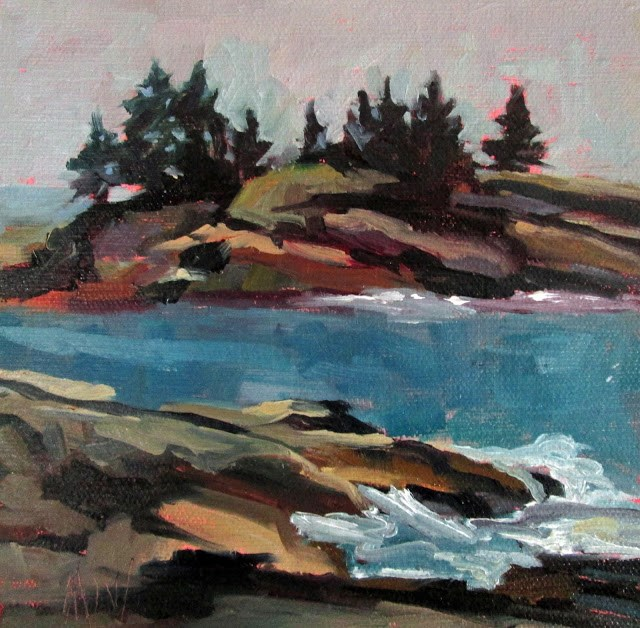 """Maine Rocks painted off the back shore of New Harbor."" original fine art by Mary Sheehan Winn"