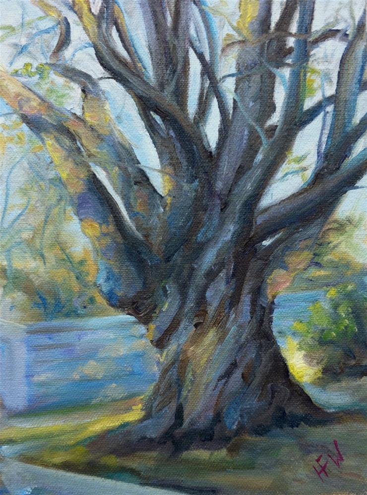 """""""The Oak on 2nd Street"""" original fine art by H.F. Wallen"""