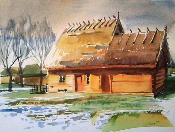 """yellow cottage"" original fine art by Beata Musial-Tomaszewska"