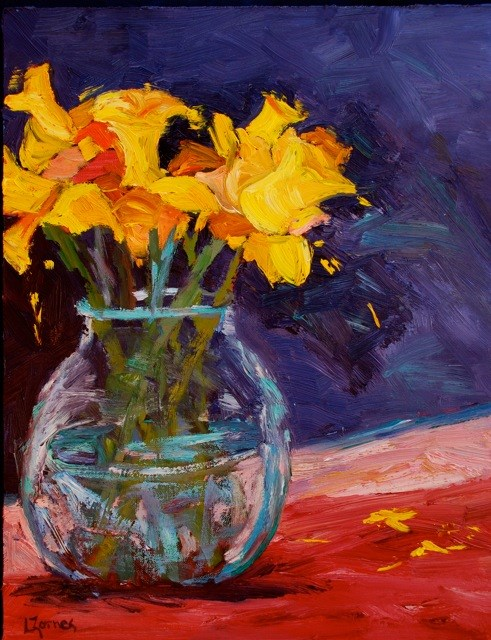 """Spring Daffodils"" original fine art by Liz Zornes"