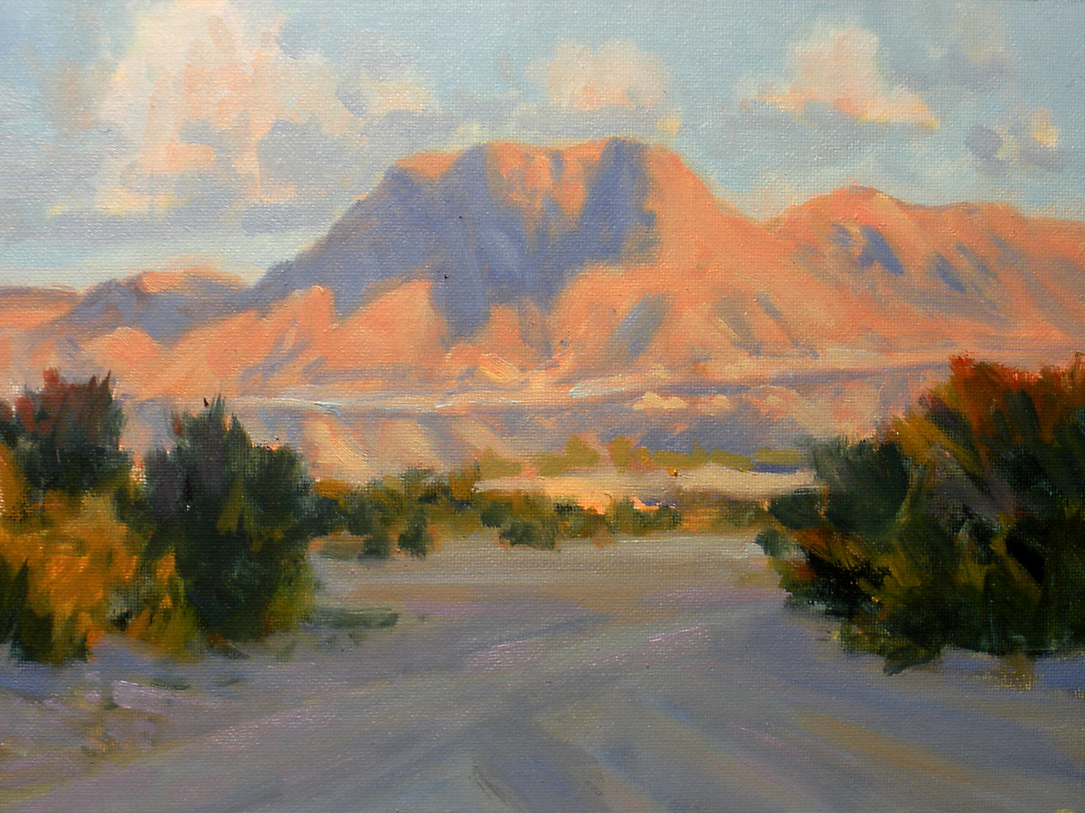 """""""Chisos from a Dry Wash"""" original fine art by David Forks"""