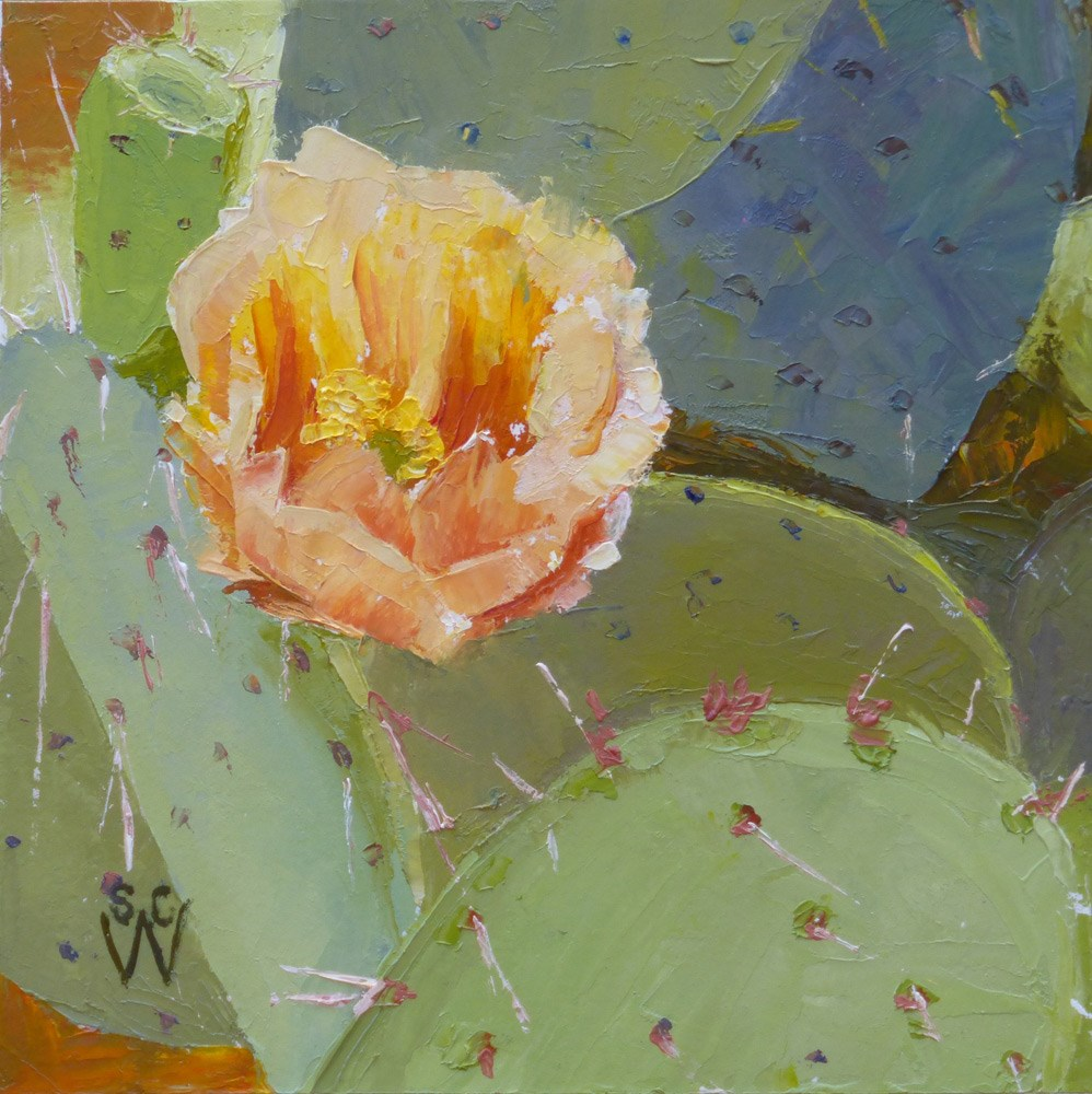 """Prickly Pear Close-up"" original fine art by Susan Woodward"