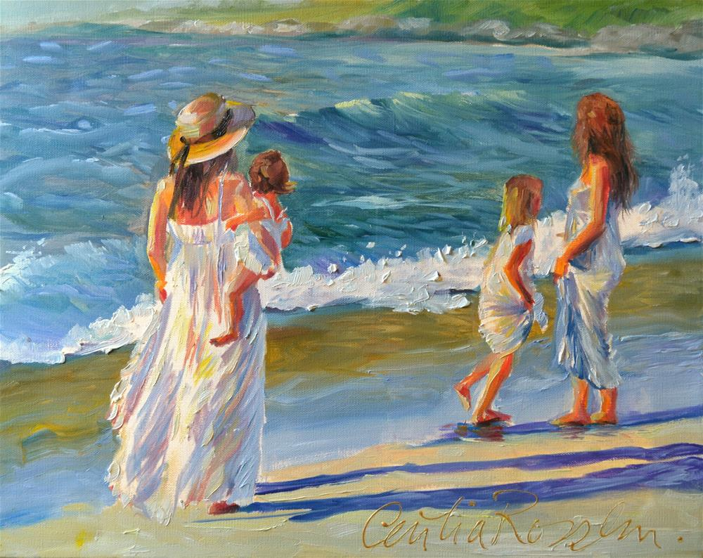 """STROLL AT SUNSET"" original fine art by Cecilia Rosslee"
