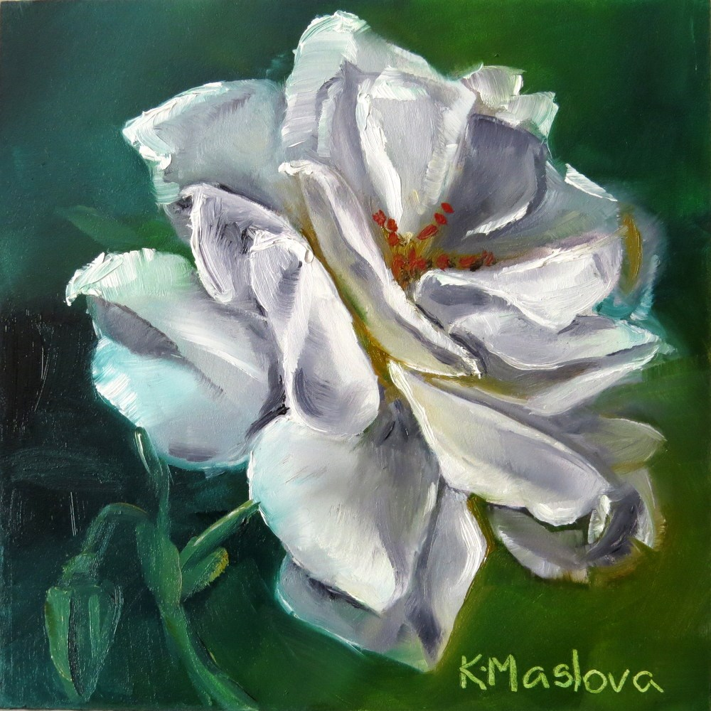 """White Rose"" original fine art by Kulli Maslova"