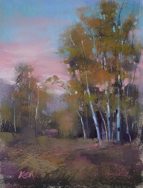 """Sunday Studio Video Demo: Trees at Sunset"" original fine art by Karen Margulis"
