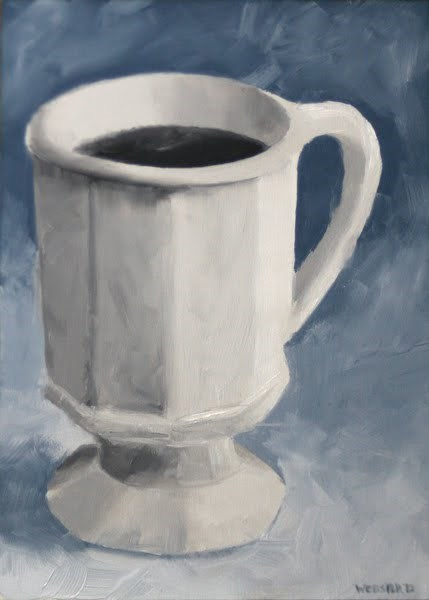 """Mark Webster - Coffee Cup Black and White Oil Painting 2.12.10"" original fine art by Mark Webster"