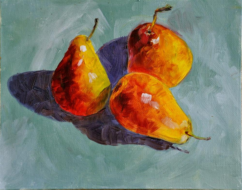 """Three Pears"" original fine art by Theresa Gonzales"