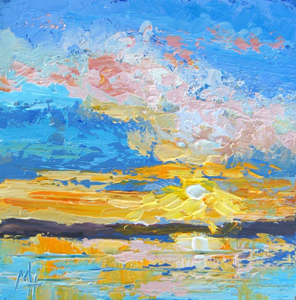 """""""Sunset 1, Miniature Art"""" original fine art by Marion Hedger"""