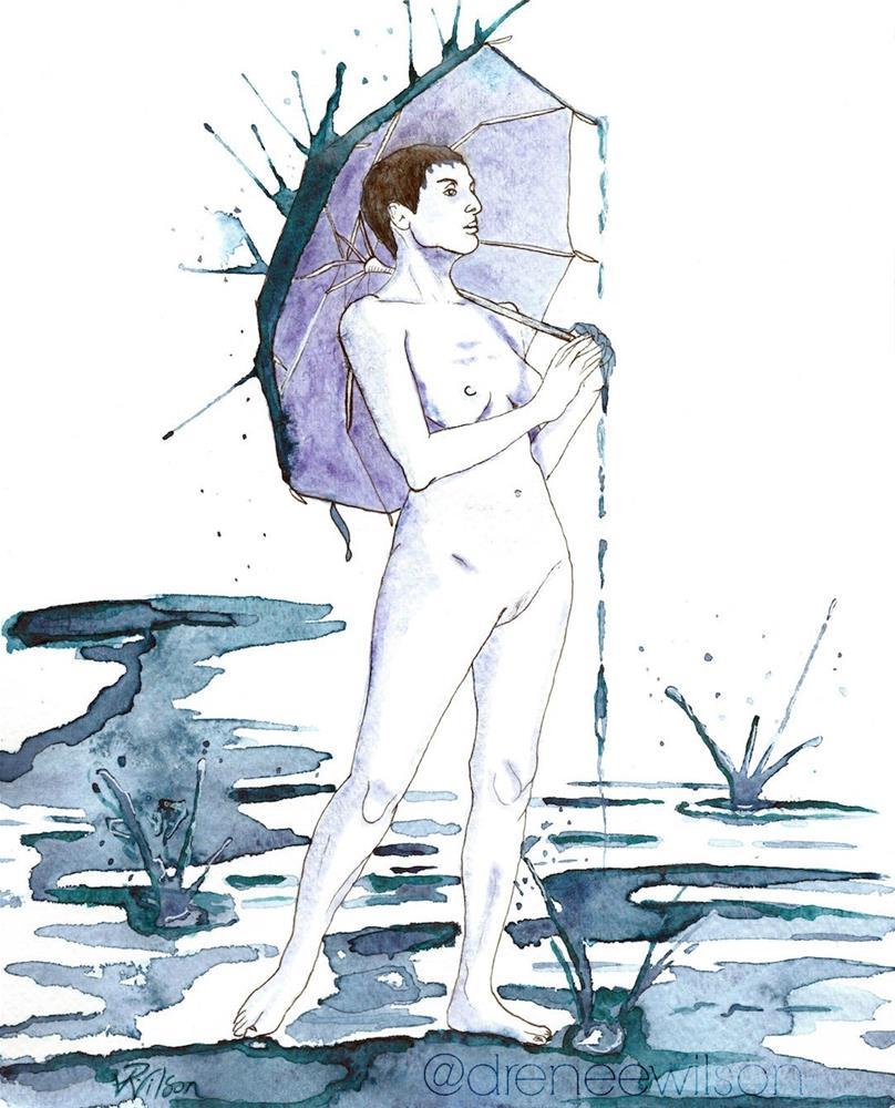 """Rain Break"" original fine art by D. Renee Wilson"