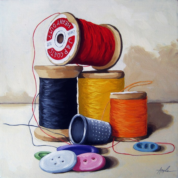 """Sewing Time realistic still life oil painting"" original fine art by Linda Apple"