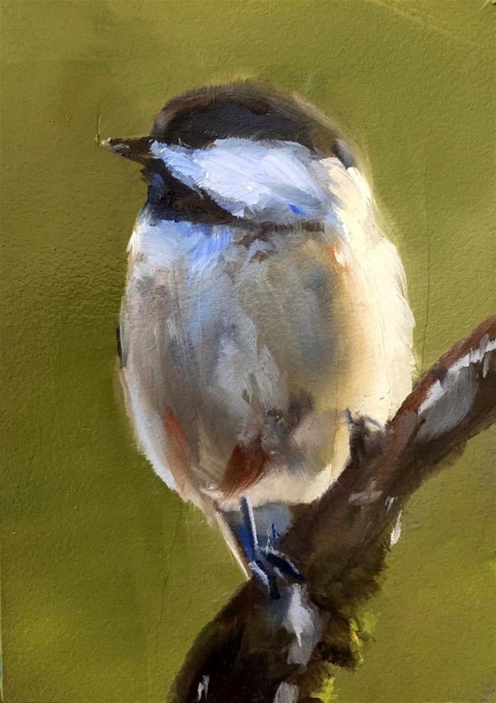 """Chickadee Glow"" original fine art by Gary Bruton"