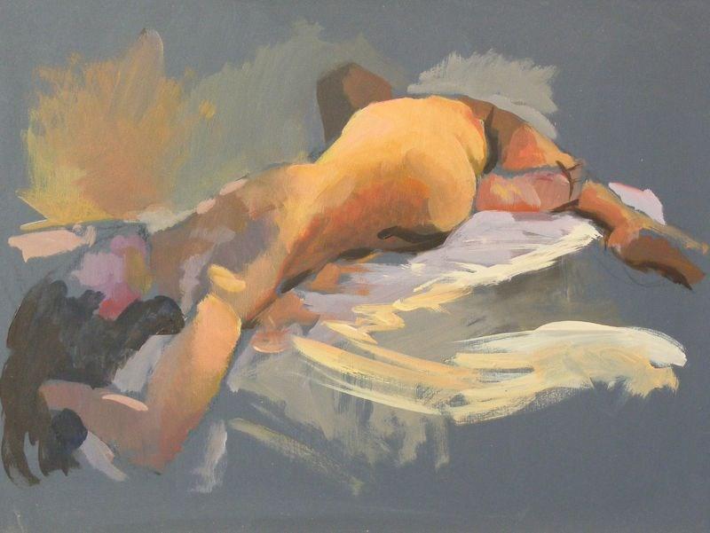 """Nude with twist"" original fine art by Peter Orrock"