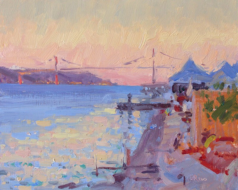 """Saturday Evening - Lisbon Riverside"" original fine art by Lena  Rivo"