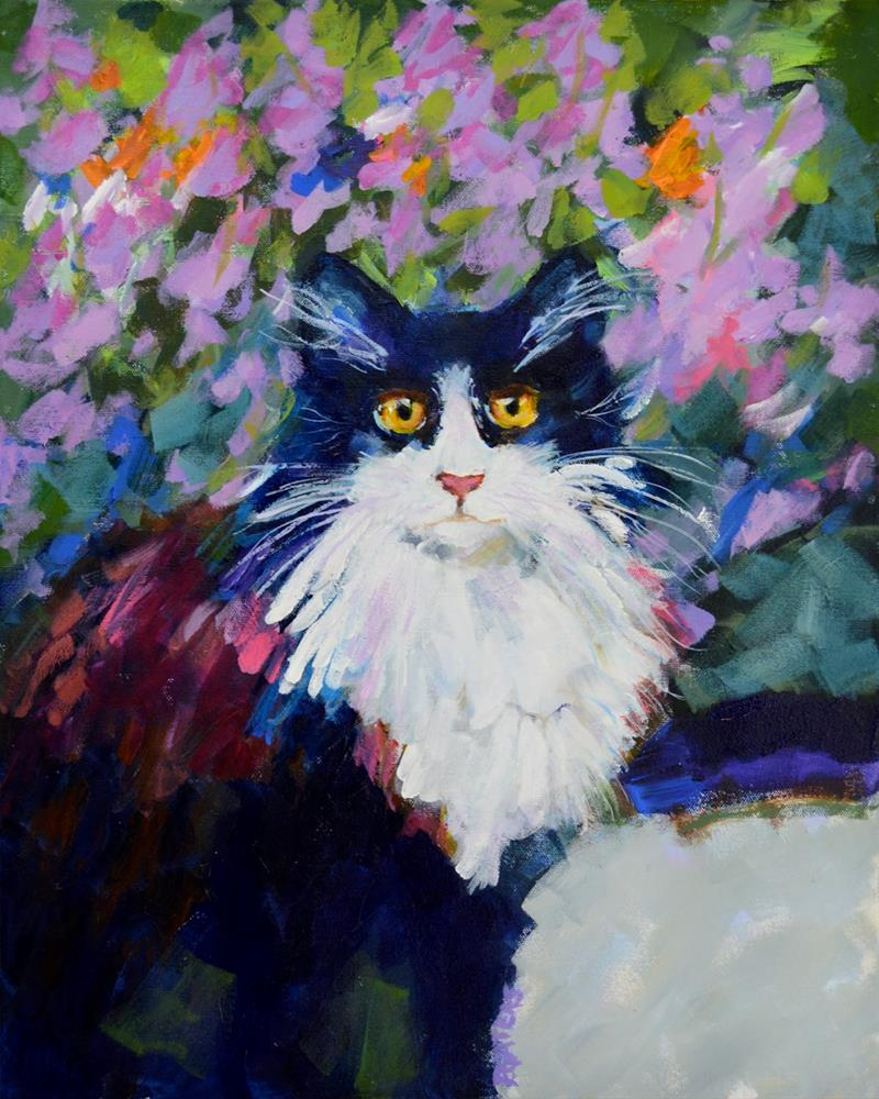 """Tuxedo in My Garden"" original fine art by Pamela Gatens"