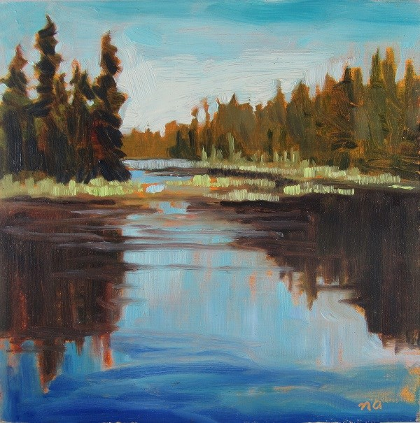 """Grass On The River, Waskesiu"" original fine art by Nicki Ault"