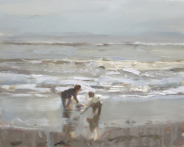"""Seascape winter #35 Children playing at the shoreline calm grey day"" original fine art by Roos Schuring"
