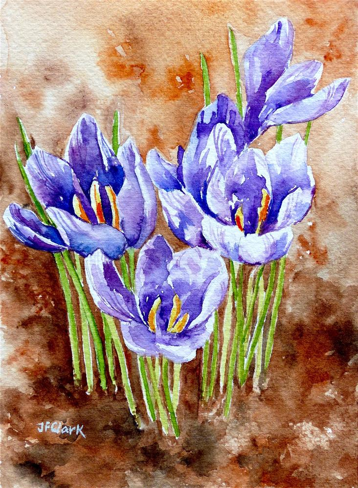 """Purple Crocus"" original fine art by Judith Freeman Clark"
