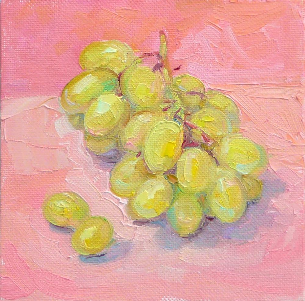 """Grapes in the Pink,still life,oil on canvas,6x6,price$200"" original fine art by Joy Olney"