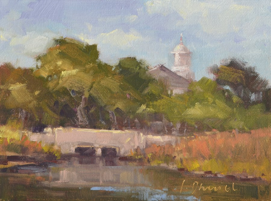 """Mill Pond Bridge"" original fine art by Laurel Daniel"